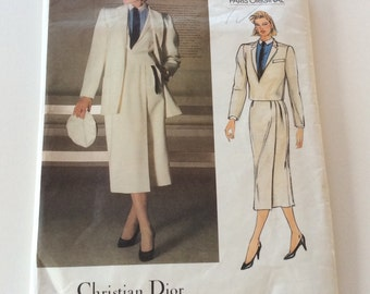Vogue Christian Dior Pattern, Vogue 1447, Paris Original Pattern, Ladies Coat Jacket Skirt and Shirt, 1980s
