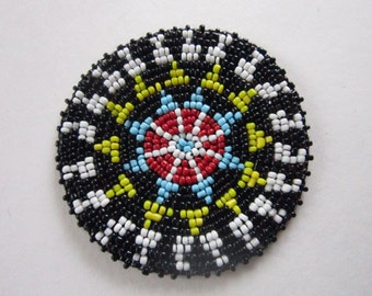 "3"" Glass Beaded Rosette Medallion Tribal Regalia Beadwork Craft 5C"
