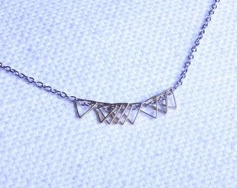 Modern Mini Triangle Necklace - Brass Triangles - Modern necklace - Simple