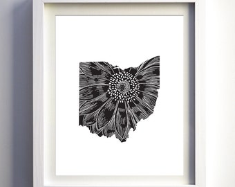 Ohio state print,Ohio wall art, black and white original unique state wall decor modern state art minimalist states print floral state print