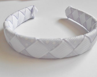 LIght lavender and white polka dot woven headband for American Girl and other 18 inch dolls