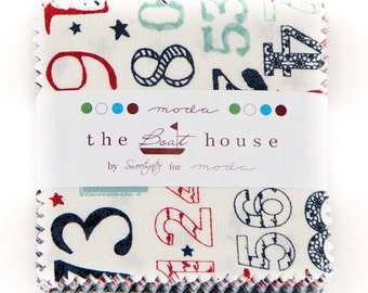 """The Boat House Mini Charms 42~ 2.5"""" x 2.5"""" Pre Cut Squares by Sweetwater for Moda Fabric"""
