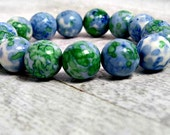 Blue Green Malachite beads bracelet / Chunky stone bracelet / Genuine Semi precious stones / gift under 30 / LikeFreja