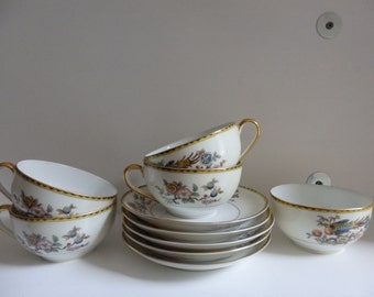 Noritake Datonia - Set of 5 Tea Cups and Saucers
