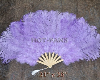 "Burlesque 21""x 38"" Aqua Violet Marabou & Ostrich Feathers Hand Fan With Bamboo Staves"