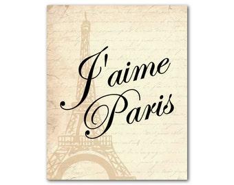 I love Paris - J'aime Paris - Eiffel Tower - typography wall art print - French script - French country - Print - Wall Art - Room decor