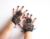 Free Shipping, Black Short Wedding steampunk Gloves, Bridal Gloves, Lace Gloves Fingerless Gloves, Steampunk gloves, Wedding Accessory