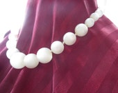 Vintage Pearly Bauble Necklace Hand Knotted Graduated Beads and Silver Clasp