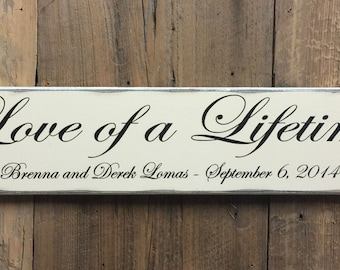 Love of a Lifetime - 5th Year Anniversary Sign - Personalized Wedding Gift - Engagement Gift - Anniversary Gift