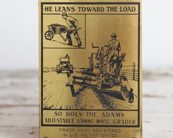 Adams Leaning Wheel Road Grader Brass Advertising Plate