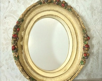 Vintage Ornate Mirror ~ Fruit & Floral ~ French Country ~ Shabby Chic ~ Romantic Home ~ Gold Frame ~ Baroque Mirror Wall Decor ~ Chalkware