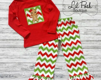 Girls Christmas Christmas Chevron Gingerbread Girl Ruffle Pants Set
