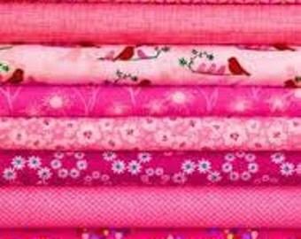 Scrap Bag 12 assorted Pink Quilt Shop Fabrics 1/4 yard cuts. Great Stash Builders!