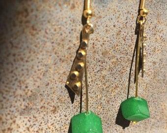Brass & Jade Braille earrings