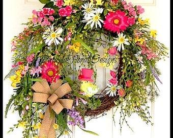 Easter Spring Wreath, Burlap Grapevine Wreath, Summer Wreath, Easter Decoration, Pink Green Wreath, Easter Chicken, Handmade Custom Wreath
