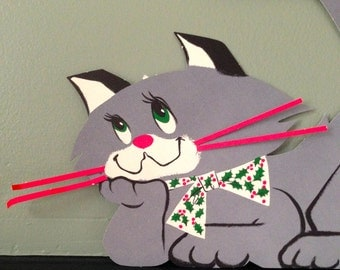 Vintage Christmas 3 Dimensional Cat Die Cut Holiday Xmas Cut Out 1950s Collectible