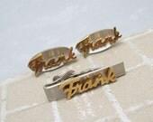 Vintage Cufflinks Monogram Frank Two Tone Swank Accessories H665