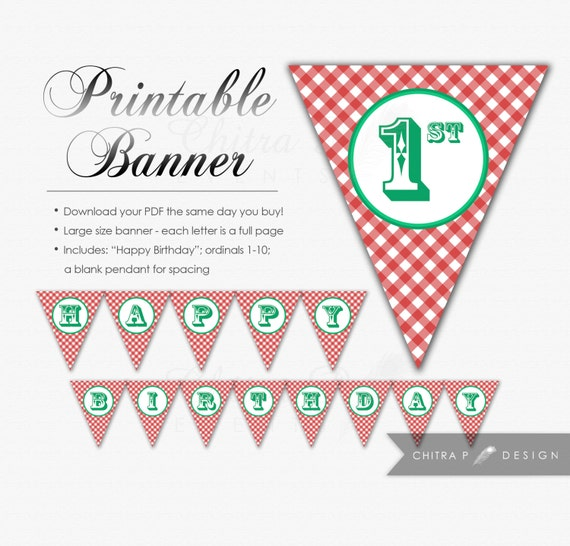 Picnic Happy Birthday Banner DIY Printable Red Green By