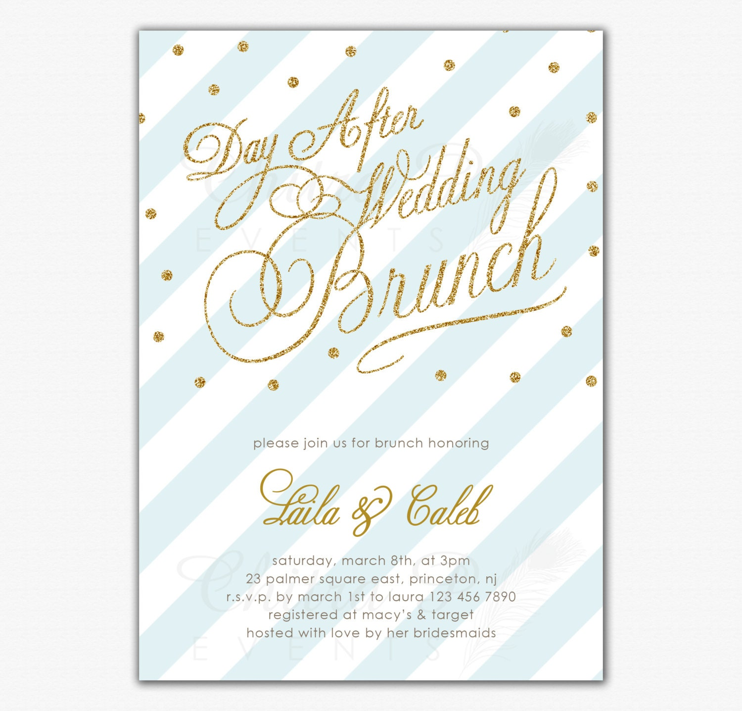 Post Wedding Brunch Invitation Printed Or Printable By Chitrap