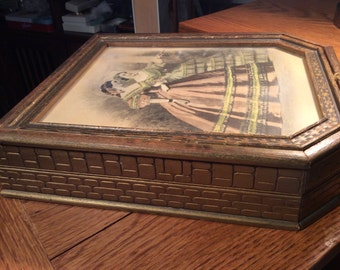 Vintage Wooden Gold-Washed Victorian Lady Jewelry Box