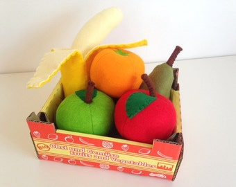 Pretend Play Felt Food Fruit Collection with Cardboard Crate