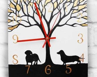 The Love Black Dachshunds Wall Clock Home Decor for Children Boy Girl Nursery Playroom, black wall clocks handmade