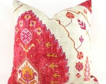 Pillow Covers ANY SIZE Decorative Pillow Cover Designer Pillow Red Pillow Orange Pillow Richloom Aubusson Coral