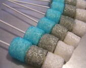 Marshmallow Pops Sugar Coated Custom Colors Coated Marshmallow Pops or Winter Frozen Winter Wonderland Theme 1 dozen