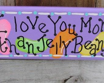 Funny Jelly Bean Sign, Easter Decor, Jelly Bean Block, Holiday Shelf Sitter, Hand Painted Sign, Easter Block, Easter Candy Decoration