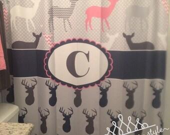 Woodland Shower Curtain - Deer and Buck Shower Curtain - Personalized Woodland Shower Curtain - Boy and Girl Shower Curtain