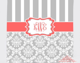 Stripe and Damask Shower Curtain   Personalized or Monogrammed Shower  Curtain   Coral and Gray ShowerPaisley Shower Curtain Brown Aqua Orange and Pink Shower. Red And Cream Shower Curtain. Home Design Ideas