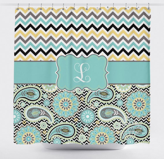 monogrammed shower curtain personalized chevron shower curtain