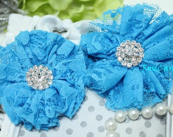 2 Tuquoise Blue Lace Fabric Flower - Vintage Wedding - Rhinestone Button - hair clip flower - Baby Girl Headband flower - Corsage -Shoe Clip