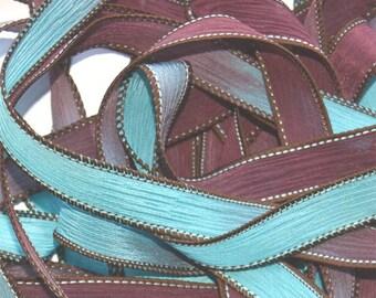 Robin Eggs hand dyed 42 inch silk ribbon//Silk Wrist Wrap Ribbon// Silk Wrap Yoga Bracelet Ribbons//Silk Ribbons//By Color Kissed Silk LLC
