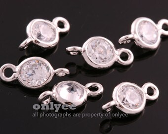 4pcs-10mmX5mmBright Rhodium plated Brass 4mm with Cubic Zirconia connectors(K3471S)