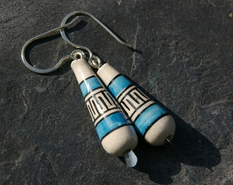 Peruvian blue and cream ceramic bead earrings with sterling silver hooks