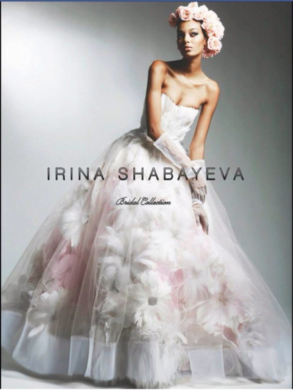 Irina Shabayeva Blush/pink Couture Feather Bouquet Ball Gown