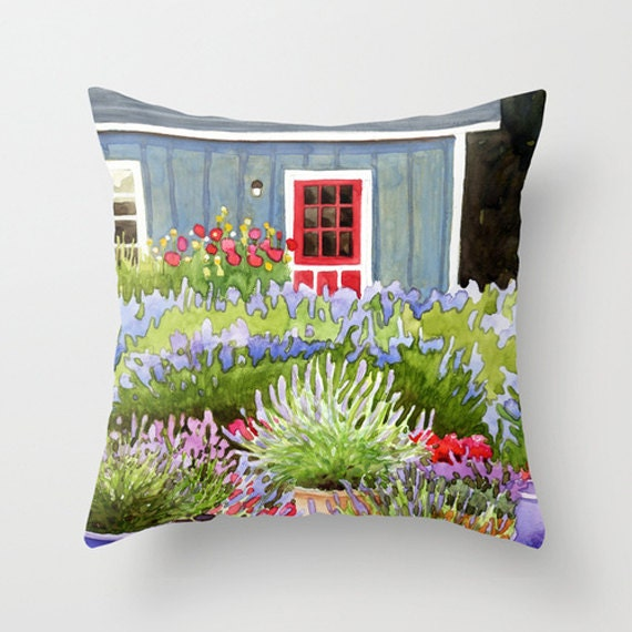 "16""x16"" Pillow cover - Pots of Lavender painting by Kathy Johnson depicting a lavender farm in purple, blue, green, pink and red"
