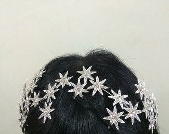 Romantic stars wedding bridal jewelry headband Swarovski rhinestone crystals hair comb tiara