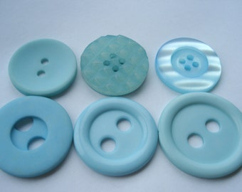 Pack of 6 Pale Blue Buttons Mixed Designs R64 Unusual Blue Buttons Statement Buttons