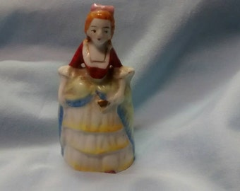 Porcelain Victorian Woman Bell,  Japan