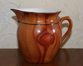 Vintage Czechoslovakian Cream Pitcher With Wood Grain Pattern Made 1940s to 1950s