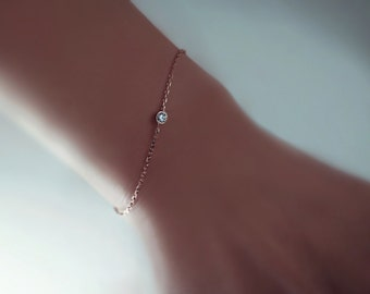 Sterling Silver Solitaire Diamond Bracelet