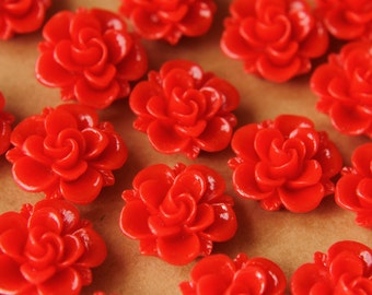 10 pc. Red Flower Cabochons 19mm | RES-476