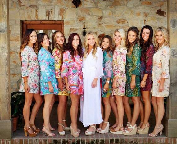 Set of 9 Custom lined knee length bridesmaids robes and 1 long bridal robe in chiffon Bridal party robes Long bridal robe California wedding