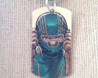 Kick-Ass upcycled Comic book dog tag, includes necklace or keychain