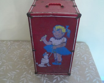 Large Vintage Metal Doll Case