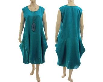 Boho linen maxi balloon dress teal, linen tank dress, pinafore summer linen dress in teal / lagenlook for plus size women XXL, US size 22-24