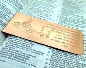 Personalized Bookmark - Engraved Copper Bookmark - Custom - Boyfriend Husband Wife Girlfriend Gift - 7 year - Personalized
