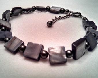 Jet Shell and Hematite Bracelet